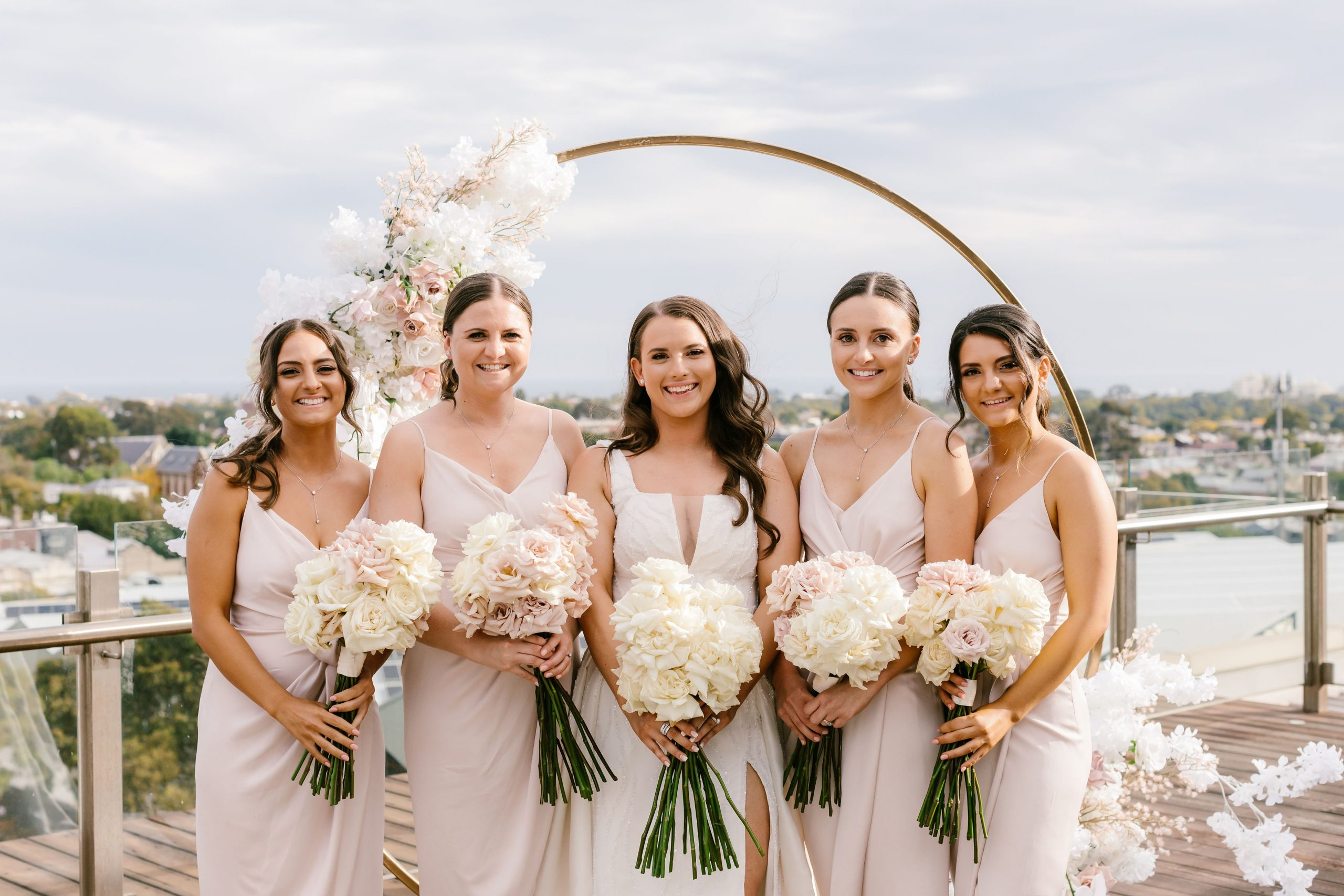Nicole and her bridesmaids at the Luminarie Rooftop